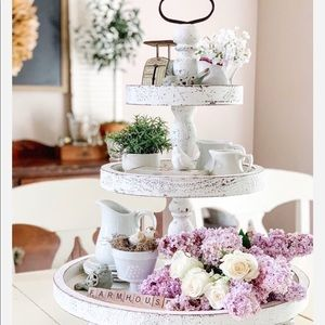 Farmhouse big 3 tier distressed tray stand